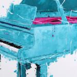 Sylvain LANG Art Jingle Piano Turquoise Et Rose 104 x 104 cm 2018 détail 2