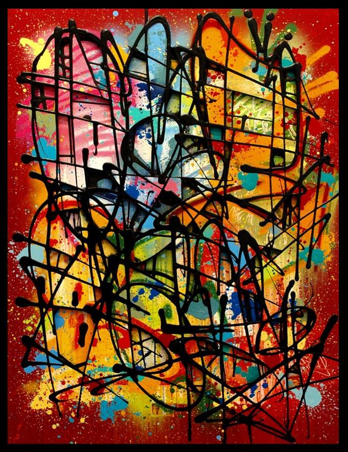 Galerie Art Jingle NEBAY Colorfull Fight 89x116cm 2020 Encadrement