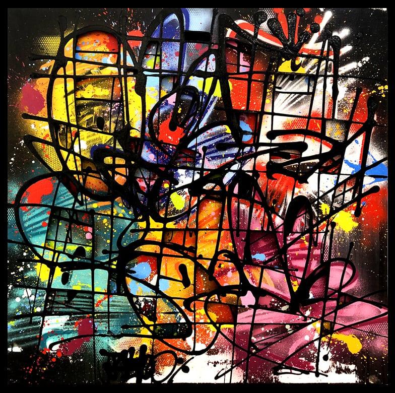 Galerie Art Jingle NEBAY Dark Délice 100x100cm 2020 Encadrement