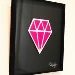 Galerie Art Jingle Le Diamantaire Rose Fluo 40 x 40 cm encadrement Mur 2021