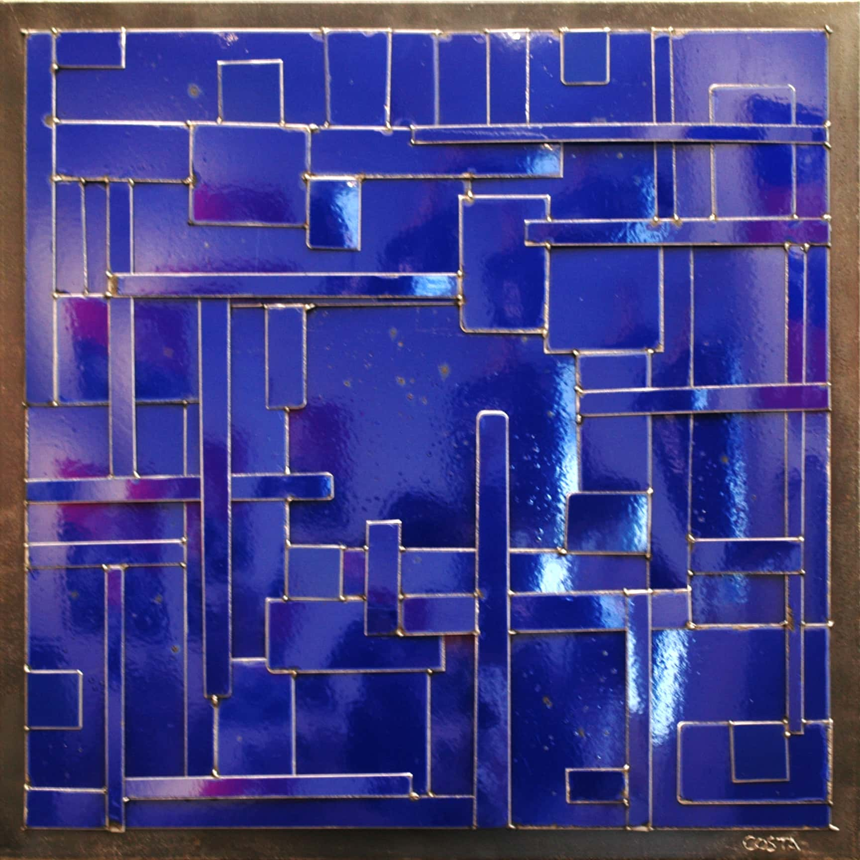 Galerie Art Jingle COSTA Composition Bleu 90 x 90 cm 2021