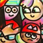Galerie Art Jingle CHANOIR Bande De Couples Néon Pop 150 x 150 cm 2021 Détail 1
