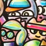 Galerie Art Jingle CHANOIR Bande De Couples Néon Pop 150 x 150 cm 2021 Détail 2