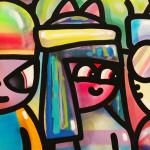 Galerie Art Jingle CHANOIR Bande De Couples Néon Pop 150 x 150 cm 2021 Détail 3