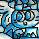 Galerie Art Jingle CHANOIR Blue Moon 57 x 76 cm 2021 Détail 2