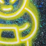 Galerie Art Jingle CHANOIR Cha Soleil Néon Cosmique 54 x 65 cm 2021 (sur bois) Détail 2