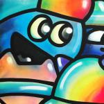 Galerie Art Jingle CHANOIR Cool Colors Cats 100 x 100 cm 2021 Détail 3