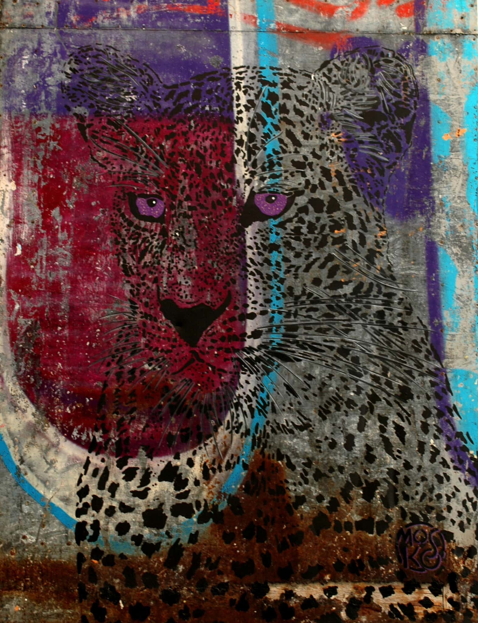 Galerie Art Jingle MOSKO Buste Panthère Tôle 98 x 130 cm 2021