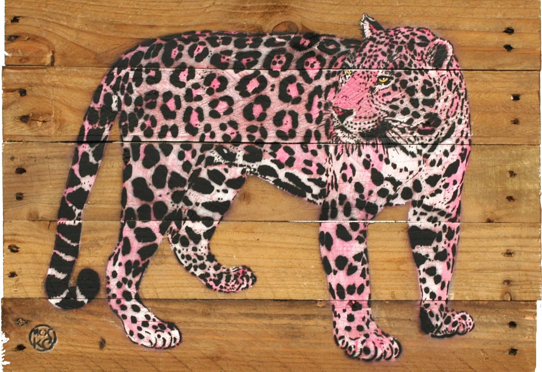 Galerie Art Jingle MOSKO Jaguar Profil Rose 35 x 50 cm 2021