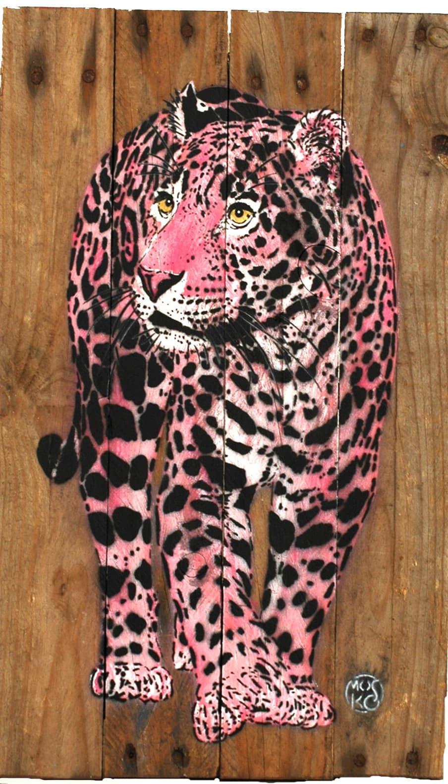 Galerie Art Jingle MOSKO Petit Bébé Jaguar Rose 50 x 30 cm 2021