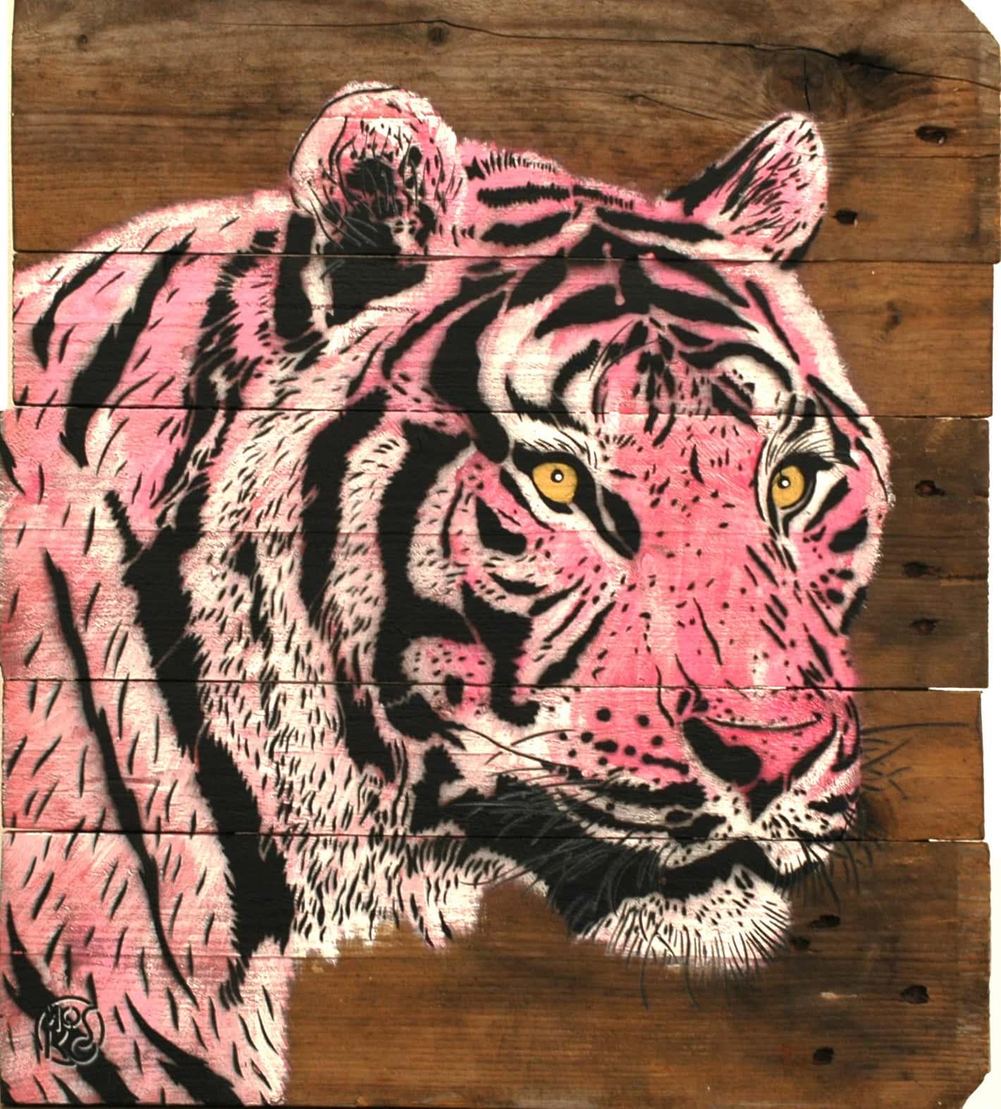Galerie Art Jingle MOSKO Tigre Tête Rose 56 x 50 cm 2021